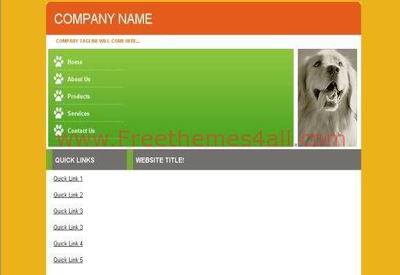 Free CSS Pets Animals Shop Web2.0 Template