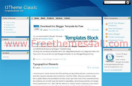 Free Classic i3Theme Blue Blogger Template