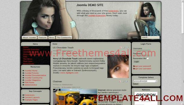 Sexy Celebrity Gray Joomla Template