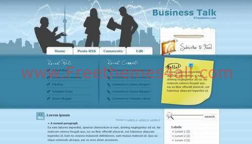 Free Blogger Business Blue Blog Web2.0 Template
