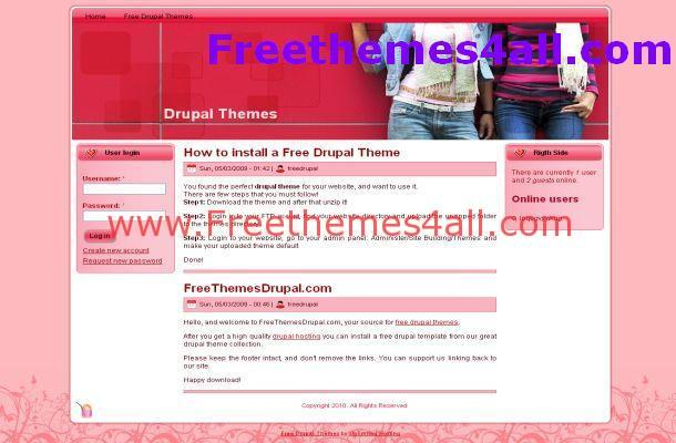 Pink Drupal 6 Fashion Theme