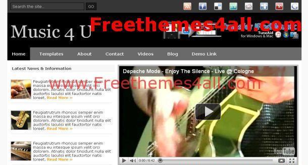 black music website template download. Black Bedroom Furniture Sets. Home Design Ideas