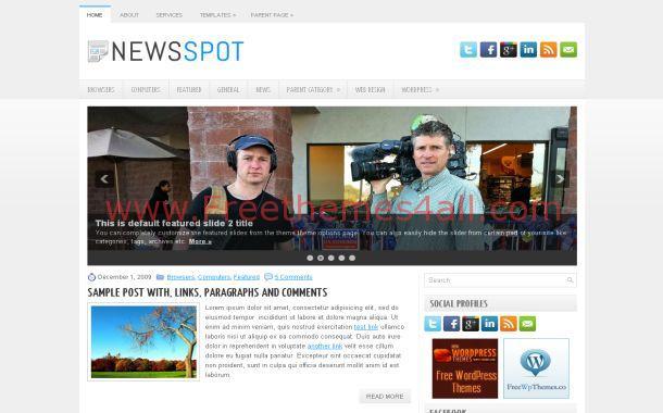 News Blue Chrome Free WordPress Theme Template