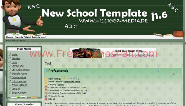 New School Green Joomla Theme Template