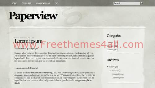Free Blogger Paper News Silver Gray Web2.0 Template