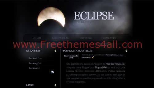 Free Blogger Dark Black Half Moon Web2.0 Template