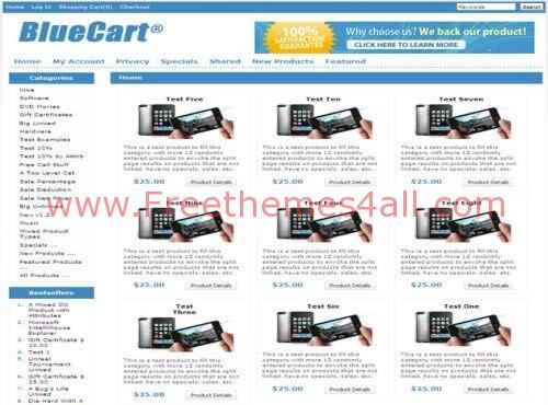Free BlueCart Premium Zencart Template
