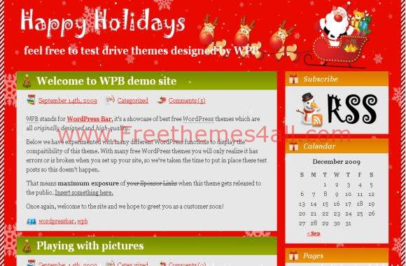 Red Holidays Wordpress Theme
