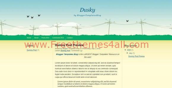 Free Blogger Dusky Light Green Template