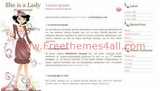 Free Blogger Ladies Pink Blog Web2.0 Template