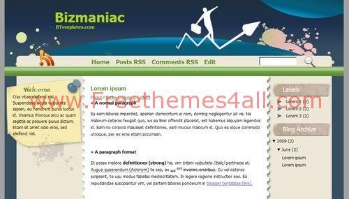Free Blogger Business Marketing Web2.0 Template