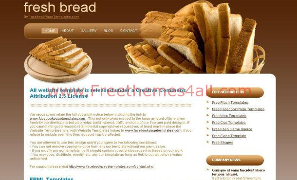 Bakery Fresh Bread Brown Free CSS Template