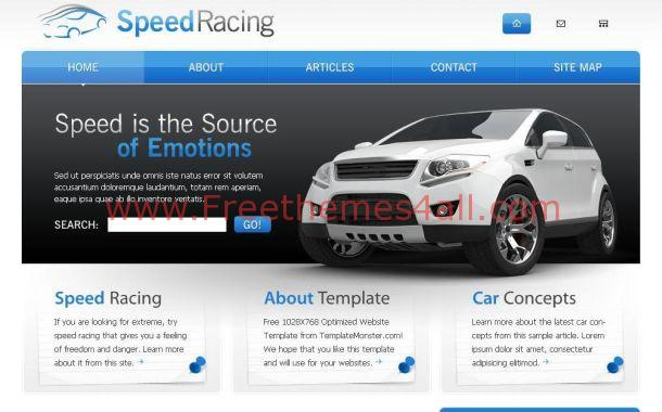 Free Blue Chrome Cars CSS Website Theme Template