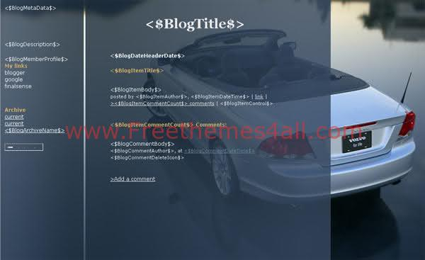Free Blogger Volvo Cars Blog Web2.0 Template