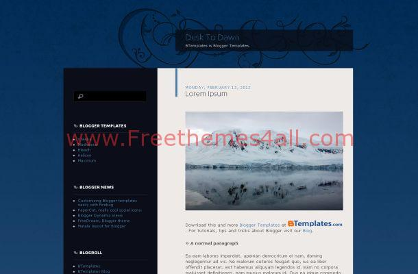 Floral Black Blue Free Blogger Theme Template