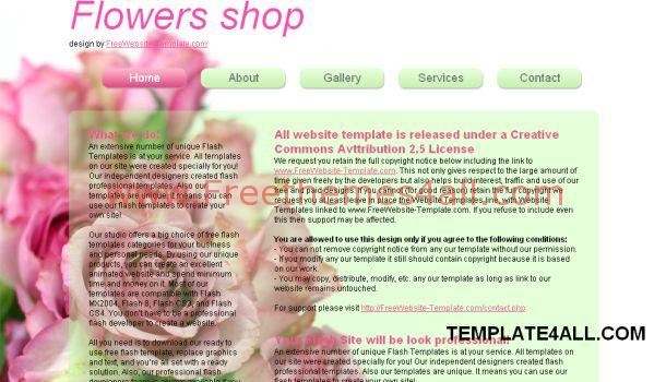 Flowers Green Pink Website Template Freethemes4all
