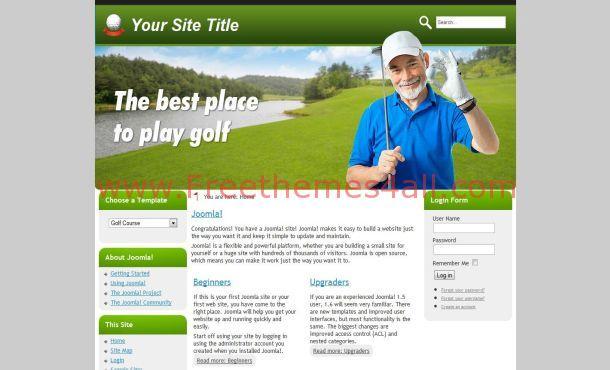 Free Silver Green Golf Joomla Theme Template