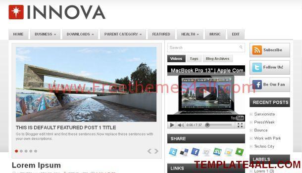 Innova Silver Magazine Blogger Template