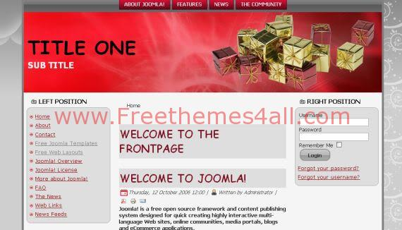 Free Joomla Red Gray Vector Gifts Template