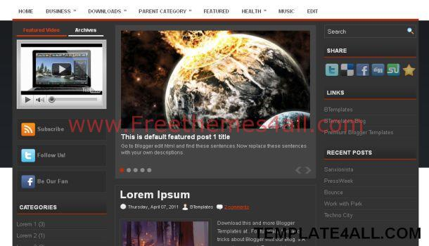News Black Blogger Template