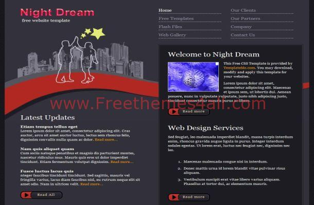 Night Grey Css Website Template Jpg Freethemes4all