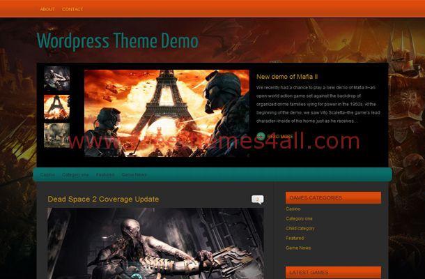 Free Black Grey Games WordPress Theme Template