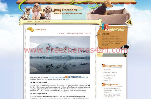 Vector Puppy Dogs Blogger Theme