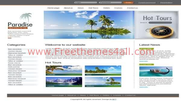 Free HTML Travel Agency Beach Web2.0 Template