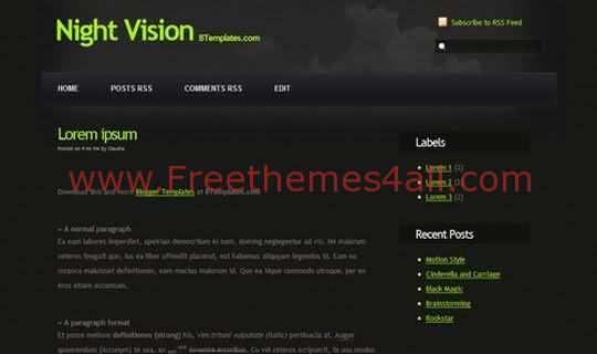 Night Black Blogger Template