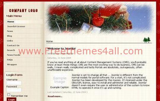 Christmas Red Joomla Template