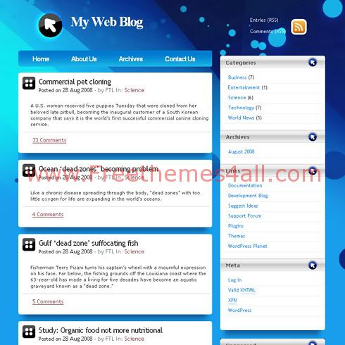 Free WordPress Bleu Digital Web2.0 Theme Template