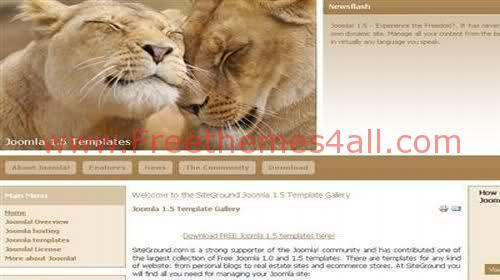 Free Joomla Wild Animals Web2.0 Theme Template