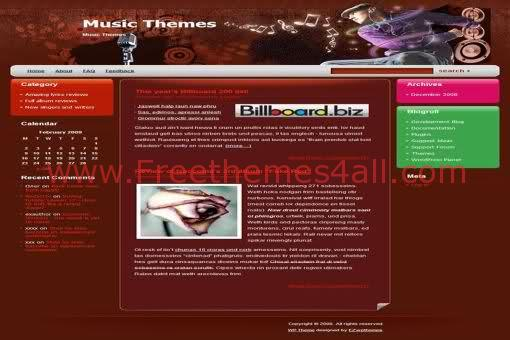 Free WordPress Red Dance Music Web2.0 Theme Template
