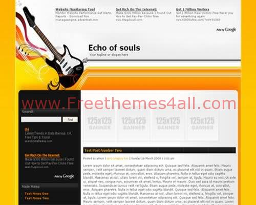 Free WordPress Orange Music Web2.0 Theme Template