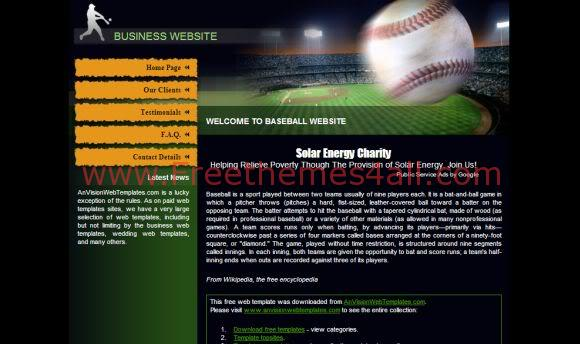 Free CSS Baseball Club Green Website Template