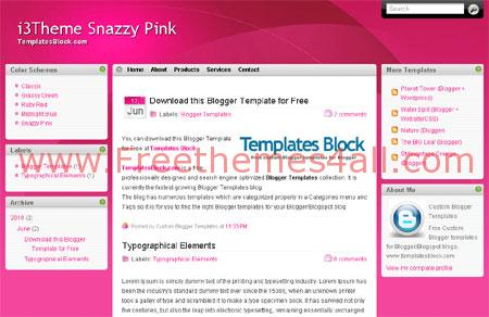 Free Pink White Magazine Blogger Template