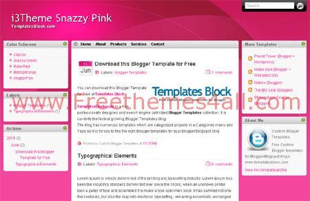 Free Pink White Magazine Blogger Template