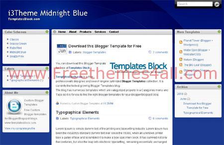 Simple Blue Free Blogger 3 Column Template