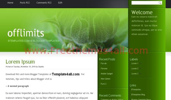 Free Abstract Green Black Blogger Template