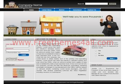Free Joomla Blue Grey Real Estate Web2.0 Template