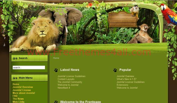 Free Wooden Animals Joomla Template