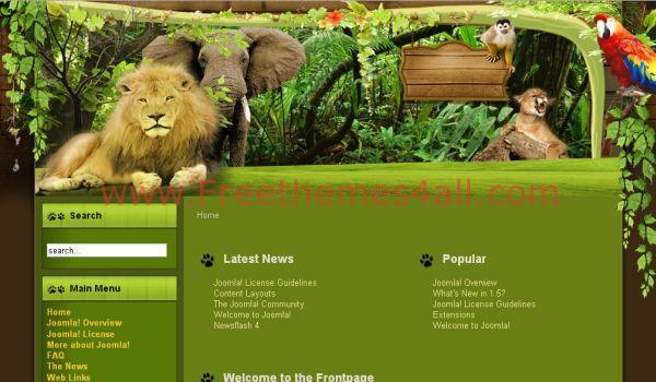 Free Wooden Animals Joomla Template