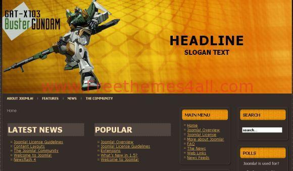 Free Games Orange Black Joomla Template