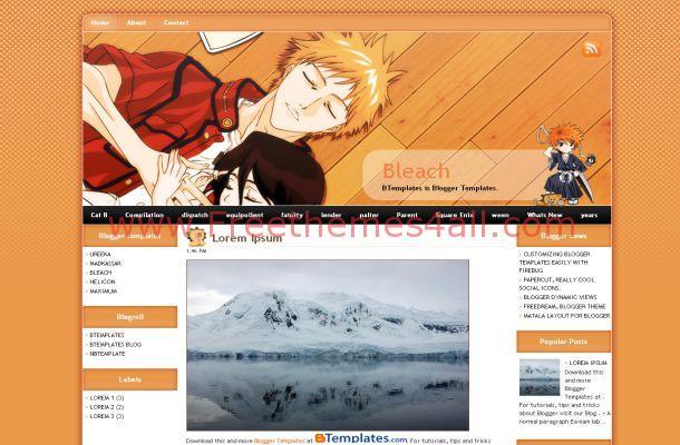 Manga Anime Orange Free Blogger Theme Template
