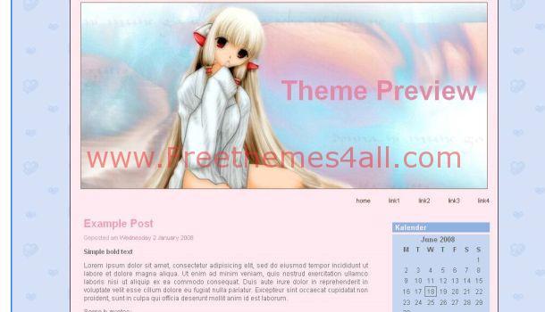 Free Girly Pink Anime WordPress Theme Download