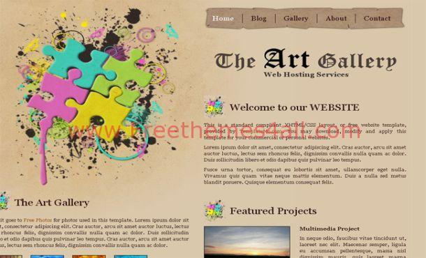 Free Art Gallery Brown Website Template