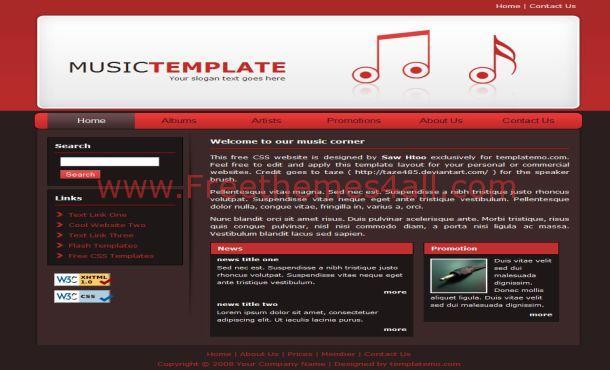Free Green Music CSS Website Template