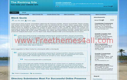 Free Beach Scene Blue Web2.0 WordPress Theme