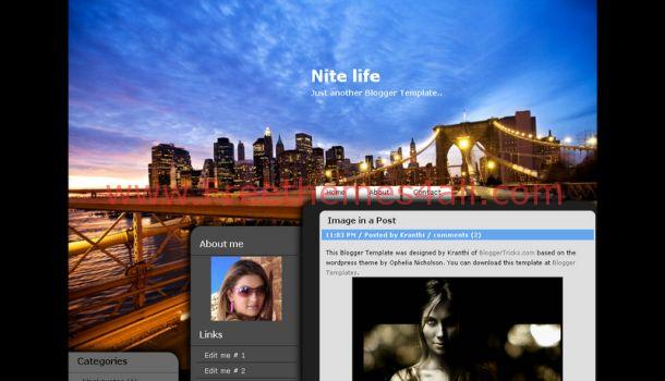 Free Black Blue Blogger Layout Template