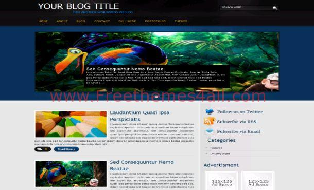 Free Abstract Black Blue WordPress Theme